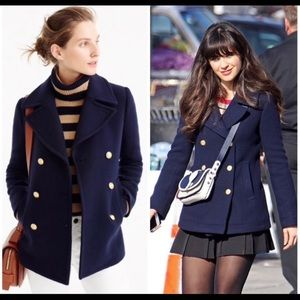 Jcrew navy stadium cloth pea coat new girl…